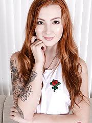 Stunning hairy redhead Megan Winters gaping her beaver wide