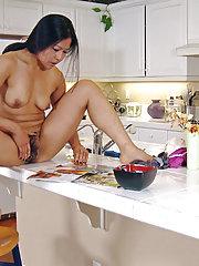 Hairy girl Max Makita may not finish breakfast