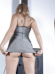 Christal slides off her new grey dress to play