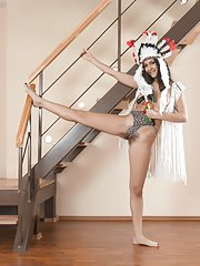 Pavla strips naked on her wooden stairs