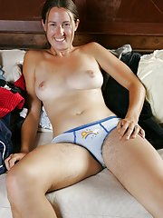 Silly hirsute amateur girl Valerie removes her panties to get naked