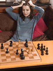 Christy strips naked after losing a game of chess