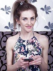 Olivia Arden masturbates with a glass dildo