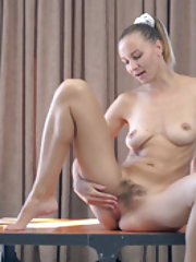 Kristina Bud strips naked to masturbate and play