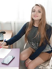 Sofi Goldfinger strips naked at her desk alone