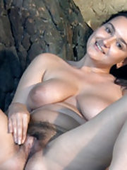 Ramira strips naked and has fun by her tree