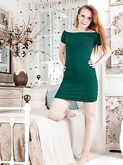 Sabrina Jay undresses in her bedroom to get naked