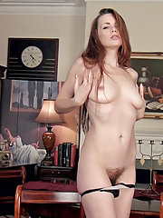 Mystique masturbates after a sexy striptease