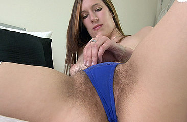 Check out every inch of Sadie Matthews\' sexy soft body and gorgeous thick bush as she strips on the bed and jams her bush with her hands.