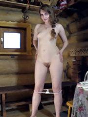 Malta strips naked in her wooden cabin