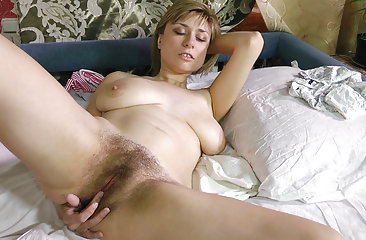 Hairy girl Nira doesn't mind a messy bed