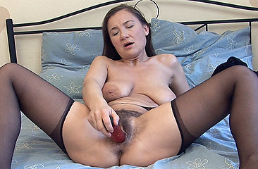 Sveta loves the taste of her hairy pussy juices, she loves to suck them off a cock but a dildo will have to do. See her shiver in delight as works it deep into her bush.