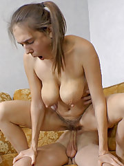 Agneta gets cum covered hairy pussy after sex