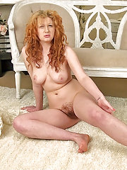 Crystal's lovely hairy pussy on the floor