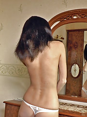 Hairy woman Efina masturbates after hot date night