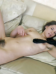 Canella strips naked on her sofa to relax