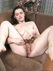Snow strips naked and enjoys her hairy body