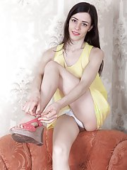 Maria Rosa gets naked on her armchair