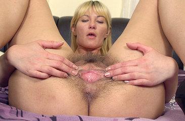 Hairy blonde Vanessa J has big natural tits