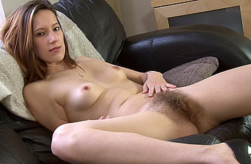 See Sexy Sadie\'s perfect body in action while she fingers and rubs her hairy snatch on the couch. A pussy so juicy you will shiver in anticipation.